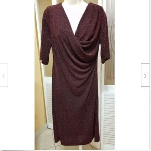 Connected Apparel Ladies Dressy Red Metallic Dress